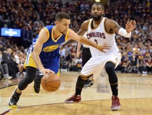 Jun 10, 2016; Cleveland, OH, USA; Golden State Warriors guard Stephen Curry (30) drives to the basket against Cleveland Cavaliers guard Kyrie Irving (2) during the first quarter in game four of the NBA Finals at Quicken Loans Arena. Mandatory Credit: Ken Blaze-USA TODAY Sports