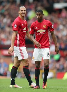 MANCHESTER, ENGLAND - SEPTEMBER 24: Zlatan Ibrahimovic and Marcus Rashford of Manchester United during the Premier League match between Manchester United and Leicester City at Old Trafford on September 24, 2016 in Manchester, England. (Photo by James Baylis - AMA/Getty Images)