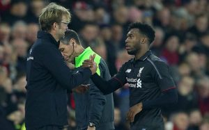 Editorial use only. No merchandising. For Football images FA and Premier League restrictions apply inc. no internet/mobile usage without FAPL license - for details contact Football Dataco Mandatory Credit: Photo by Kieran McManus/BPI/REX Shutterstock (5470166as) Liverpool manager Jurgen Klopp shakes hands with Daniel Sturridge after he is substituted during the Capital One Cup Quarter Final match between Southampton and Liverpool played at St Mary's Stadium, Southampton on December 2nd 2015 Capital One Cup 2015/16 Quarter Finals Southampton v Liverpool Saint Mary's Stadium, Britannia Road, Southampton, United Kingdom - 2 Dec 2015