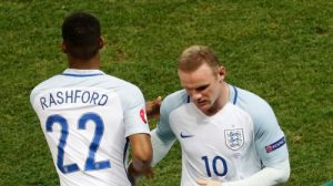Football Soccer - England v Iceland - EURO 2016 - Round of 16 - Stade de Nice, Nice, France - 27/6/16 England's Marcus Rashford comes on as a substitute to replace England's Wayne Rooney REUTERS/Yves Herman Livepic