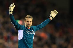 1st October 2015 - UEFA Europa League - Group B - Liverpool v FC Sion - Liverpool goalkeeper Simon Mignolet - Photo: Simon Stacpoole / Offside.