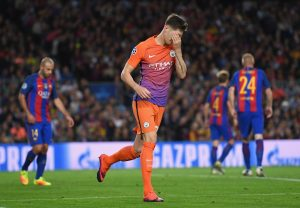 BARCELONA, SPAIN - OCTOBER 19:  John Stones of Manchester City reacts after missing a chance during the UEFA Champions League group C match between FC Barcelona and Manchester City FC at Camp Nou on October 19, 2016 in Barcelona, Spain.  (Photo by Shaun Botterill/Getty Images)