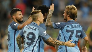 SHENZHEN, CHINA - JULY 28:  Sergio Aguero (L) of Manchester City celebrates with team mates after he scores the first goal during the 2016 International Champions Cup match between Manchester City and Borussia Dortmund at Shenzhen Universiade Stadium on July 28, 2016 in Shenzhen, China.  (Photo by Lintao Zhang/Getty Images)
