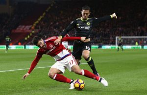 MIDDLESBROUGH, ENGLAND - NOVEMBER 20: Eden Hazard of Chelsea challenges Antonio Barragan of Middlesbrough during the Premier League match between Middlesbrough and Chelsea at Riverside Stadium on November 20, 2016 in Middlesbrough, England. (Photo by Jan Kruger/Getty Images)
